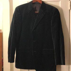 Black velvet pinstriped blazer